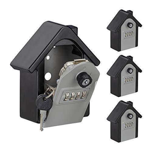 Relaxdays 4 x Schlüsseltresor in Hausform, 4-stelliger Code, Notfallschlüssel, Wandmontage, HxBxT 15x13,5x7 cm, schwarz/grau