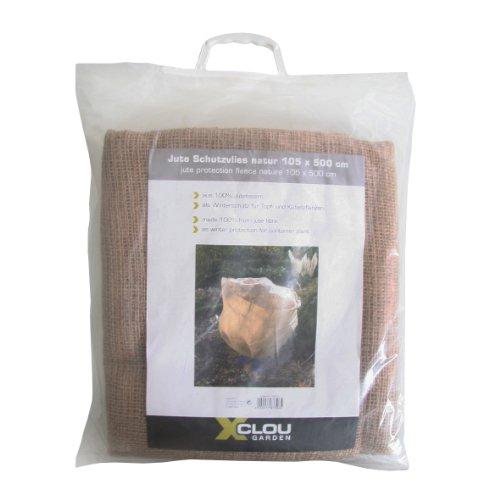 Xclou Jute Schutzvlies, Jutedecke schützt Topf- & Kübelpflanzen, Frostschutz natur, Pflanzenschutz aus 100% Jutefasern, ca. 105 x 500 cm