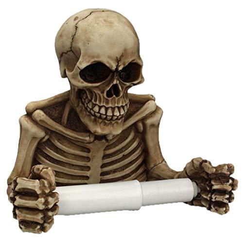 montado en la pared 1PC esqueleto de papel higiénico rollo de toallas de papel titular retro esquelético cráneo del rollo titular Ghost Festival de almacenamiento de baño Artifactfor Conveniencia