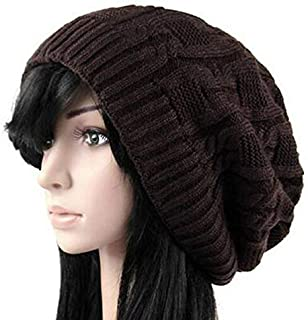 KCBYSS Women Warm Casual Beanies Stripes Knitted Female Hat Autumn Winter Cap for Girl (Color : Coffee)