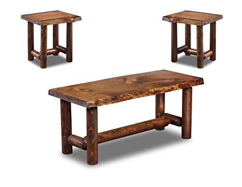 Rustic Log Coffee and End Table Set Pine and Cedar (Honey Pine)