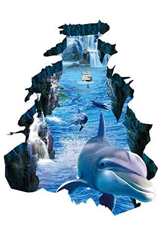 SMTD Kinderzimmer Babyzimmer Badezimmer 3D Delphin Wandaufkleber Wohnzimmer Schlafzimmer Kabinett Wandaufkleber Wanddeko Geschenk Waterproof Wallpaper KS6649