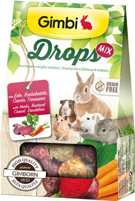 Gimbi Drops con hierbas, remolacha, zanahoria, Taras Snack para roedores sin cereales, 50 g