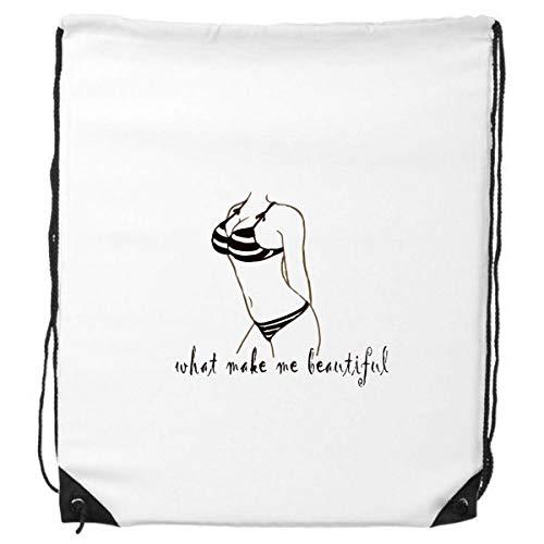 DIYthinker Bikini Beauty Illustratie Zwart Patroon Trekkoord Rugzak Winkelen Sport Tassen Gift