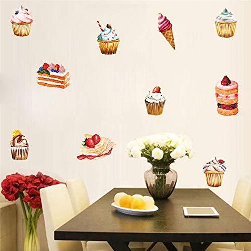 PISKLIU Muurstickers, PVC, ijs, cake, knutselen, zelfklevend, voor dessert keuken, ontvangst, stickers, restaurant, café, shop, hotel, ramen, zelfklevend