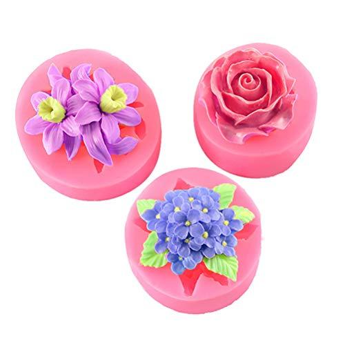 Bonbela 3 moldes de silicona con diseño de flores en 3D, para decoración de tartas, resistentes a altas temperaturas