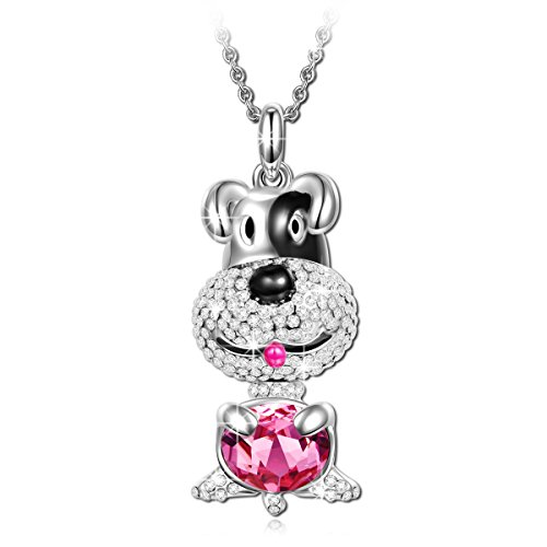 LADY COLOUR Gifts for Girls Animal Necklace for Daughter Granddaughter Present Lucky Dog Puppy Pendant Ruby Swarovski Crystals Jewelry for Women Her Birthday Gifts for Teens Girls Girlfriend