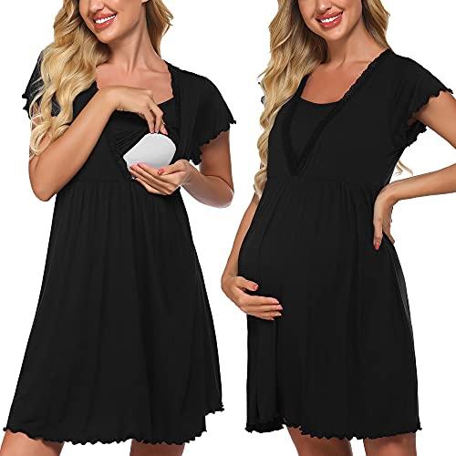 Meaneor Damen Pflege/Geburt/Krankenhaus Nachthemd Kurzarm Nachthemd Umstandsnachthemd mit Spitze Stillnachthemd für Schwangere und Stillzeit, Schwarz, Gr. XXL