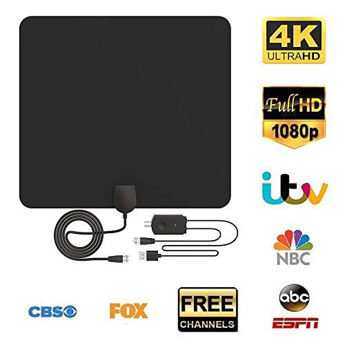 Antena de TV, Antena Interior HDTV con Portatil Amplificador, 60-80 Millas Gama de Recepción, Obtenga Muchos Canales de TV Gratis, Fácil de Usar y Instalar