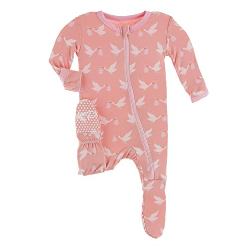 KicKee Pants Welcome Home Footie with Zipper, Boy or Girl One-Piece, Super Soft Baby Clothes (Blush Stork - Newborn)