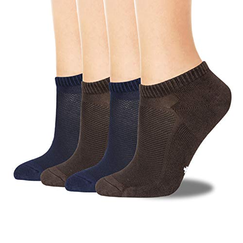 +MD Mens Breathable Bamboo Socks Moisture wicking and Odor Resistant Low Cut No Show Athletic Socks,4 Pack Navy/2Coffe10-13