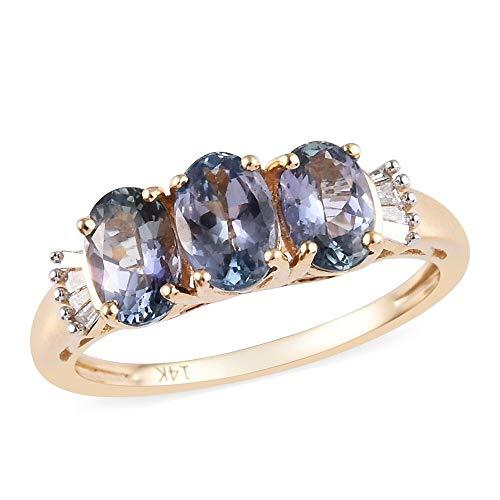 TJC AA Peacock Tanzanite 14ct Yellow Gold Three Stone Ring for Women White Diamond Size O, 1.49 Ct