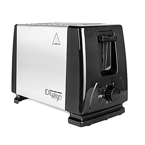 Brot Toaster - Italian Design, 2 Toasts, 6 Heizstufen, mit herausnehmbarem Tablett und Edelstahl - 750W