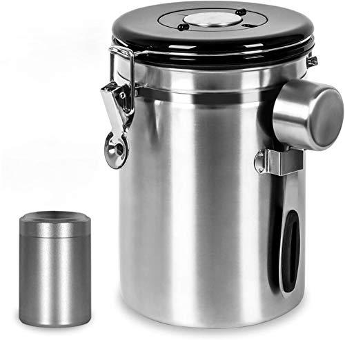 Shayson Kaffeedose Luftdicht,Kaffee Aufbewahrung Kaffeebehälter Aromadicht 1800ml Kaffeedose edelstahl für 635g/22.8oz Kaffeebohnen, Kaffee Vorratsdose mit 30 ml Messlöffel /70 ml Teedose/Kaffeedose