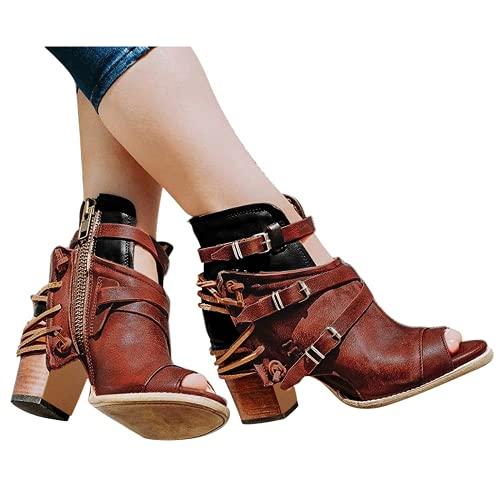 Bcshiye Botas de tacón de plataforma para mujer, botas de motocicleta de moda, botas de combate occidentales, botas de tobillo con puntera puntiaguda