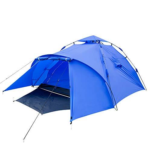 EUGAD Camping Zelt 3-4 Personen Sekundenzelt Schnellaufbau mit Quick-Up-System Kuppelzelte wasserfest Familienzelt mit Tragetasche 300x220x150cm Blau
