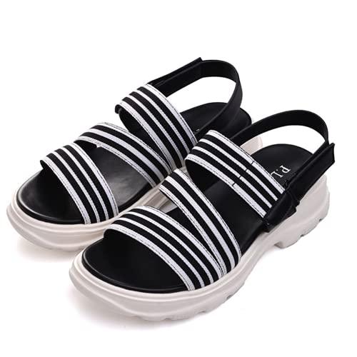 PLRD Womens Shoes Sandals Sandles Ladies Open Toe Adjustable Flat Sandal Slippers Comfortable Walking Shoes Fashion Summer Outdoor Beach (Black, numeric_5)