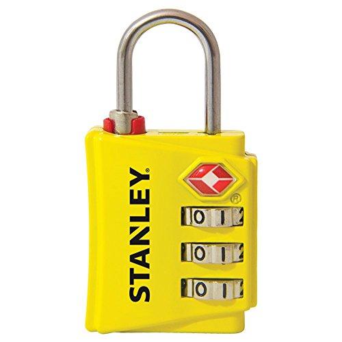Stanley 81142393401 Lucchetto TSA a 3 Cifre Giallo con Indicatore di Sicurezza in Zinco, 30 mm