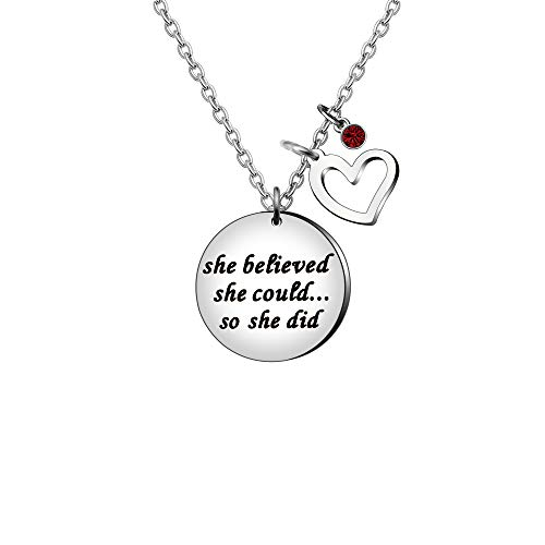 Lettering'She believed she could.so she did' Birthstone Heart Pendant Silver Chain Necklace For Women Jewelry Teacher Gift (June)