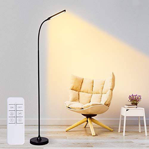 Shine Decor LED Floor Lamp of Touch & Remote Control, Dimmable LED Floor Lights with 5 Color Temperatures for Home Office, Standing Tall Lights with Swing Arm LED Reading Lamp for Bedroom Living Room