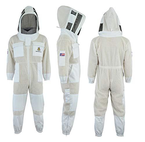 Bee Suit SFVG FREIEN Handschuhen 3X Layers Sicherheit, Unisex White Fabric Mesh Imkeranzug, Imkeranzug Bee Veil Imker Outfit Imker Hut Fencing Veil (XL)