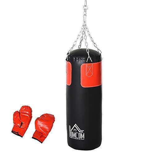 HOMCOM Boxsack Trainingsdummy Boxtraining Boxen mit Boxhandschuhen Schwarz Ø30 x 120 cm