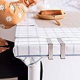 Telgoner Tischdeckenklammer Edelstahl, 12 Stück Draußen Tischtuchklammern Tischdeckenhalter Tischtuch Klein Klemme Clips für Dicke Tische Gartentisch, Silber, 5 x 4 cm - 5