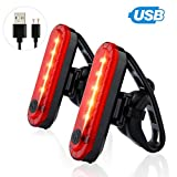 OUTEYE 2er-Pack hinten Fahrrad-Rücklicht für Mountain Bike Ultra Bright USB aufladbare Fahrrad Rückleuchten Rot High Intensity Led Cycling Safety