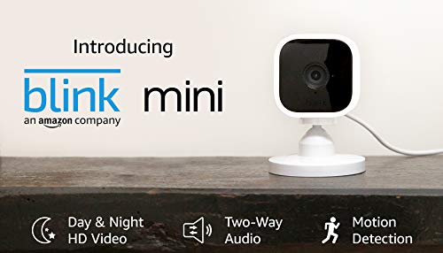 Blink Mini – Compact indoor plug-in smart security camera, 1080 HD video, night vision, motion detection, two-way audio, Works with Alexa – 1 camera