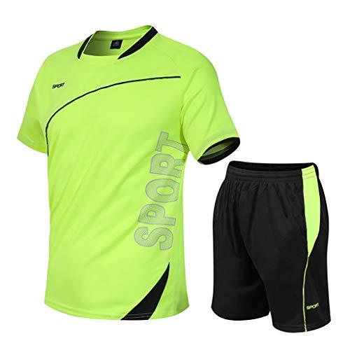 BUZHIDAO Ensemble de vêtements de sport courts pour homme - Séchage rapide - Pantalon de compression respirant - Vert - XXXXXL