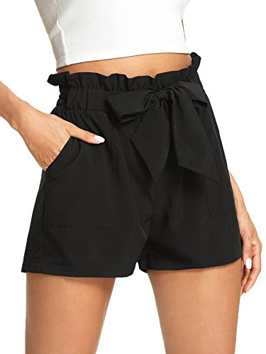 Romwe Women's Casual Elastic Waist Bowknot Summer Shorts with Pockets Black M