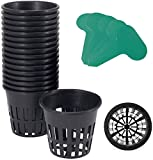 3 hydro net pot - GROWNEER 25 Packs 3 Inch Net Cups Slotted Mesh Wide Lip with 10Pcs Plant Labels Heavy Duty Filter Plant Net Pot Bucket Basket for Hydroponics