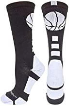 MadSportsStuff Basketball Logo Athletic Crew Socks, Large - Black/White