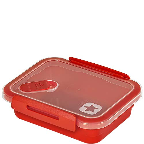 Rotho Memory Mikrowellendose 0,4l mit Deckel und Ventil, Kunststoff (PP) BPA-frei, rot, 0,4l (15,0 x 12,0 x 4,7 cm)