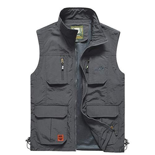 YDSH Mens Vest Outdoor Vest Safari Practical Zipper Multi Pocket Mesh Breathable Camping Hunting Fishing Photography Hiking Vest Grey
