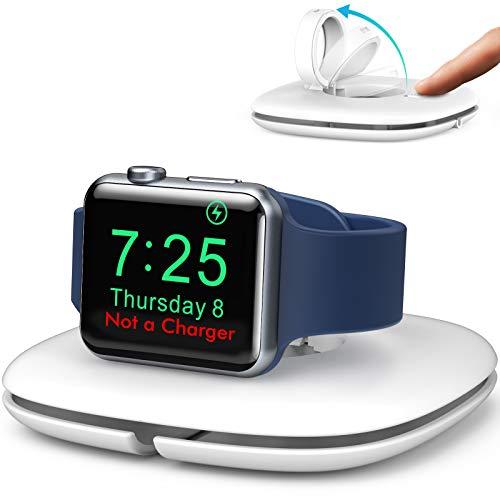 AHASTYLE Apple Watch Ladestation Pop-up Kabelmanagement Ständer Ladestation Dock【Ladegerät Nicht Enthalten】für iWatch Faltbar Ladehalter Kompatibel mit Apple Watch Series SE/6/5/4/3/2/1 (Weiß)