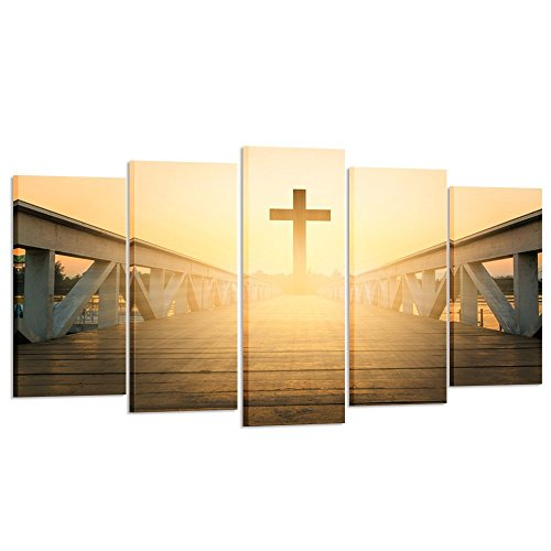 Kreative Arts - Canvas Prints Wall Art Christian Cross Picture Printed on Canvas for Home Decoration Stretched Gallery Canvas Wrap Giclee Ready to Hang (Large Size 60x32inch)