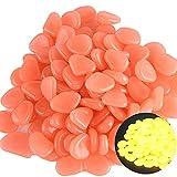 XBFVE 50 unids coloridos piedras brillantes piedras brilla en la oscuridad para la decoración de los pasillos del jardín, el tanque de pescado del acuario, la decoración de la sala que brilla intensam