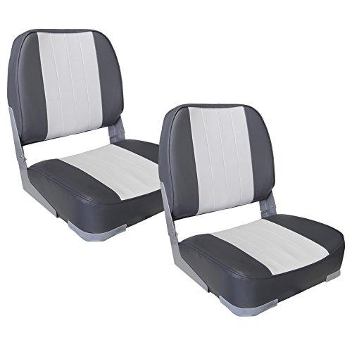 [pro.tec] 2x asientos de barco (gris-blanco) set ahorro - de piel sintética resistente al agua / silla de cabina / tapizado / silla de pesca / resistente a rayos UVA