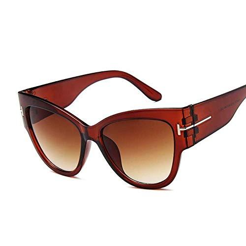 YDXC Gafas de Sol Vintage Cat Eye Women Luxury Big Frame Gradient Shades Female Fashion Clear Aplicar al Trabajo por computadora o Conducir y Otras Actividades al Aire Libre-Marrón