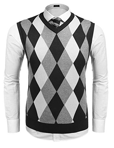 COOFANDY Mens Casual Slim Fit V-Neck Rhombus Business Knitwear Sweater Vest,Large,Black