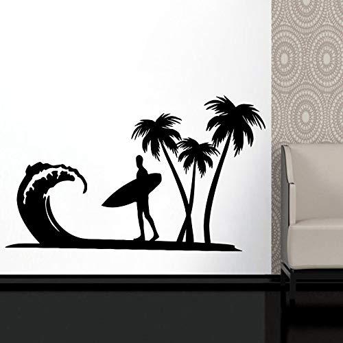 JXMK Surfen Pinsel Logo Vinyl Aufkleber Grenze Wandaufkleber Sportbegeisterte Abenteuer Ozean Meer Forschung Schlafsaal Dekoration Abziehbilder 95x57cm