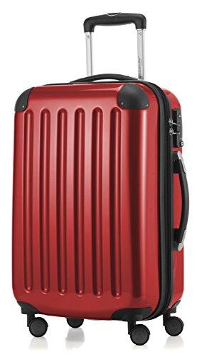 HAUPTSTADTKOFFER - Alex - 4 Doppel-Rollen Handgepäck Hartschalen-Koffer Trolley Rollkoffer Reisekoffer, TSA, 55 cm, 42 Liter, Rot