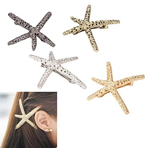 Geyan 4 Piezas Clips de Pelo Horquillas Barrettes de Resorte de Estrella de Mar Hueca de Metal Retro Sombreros de Pelo de Cola de Caballo para Mujeres Niña