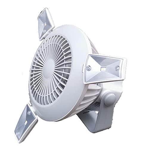 Ajuste de la Velocidad del Ventilador Solar de Camping al Aire Libre 4 + 4 Tipos de Ajuste de luz Panel Solar monocristalino + Entrada (Blanco)