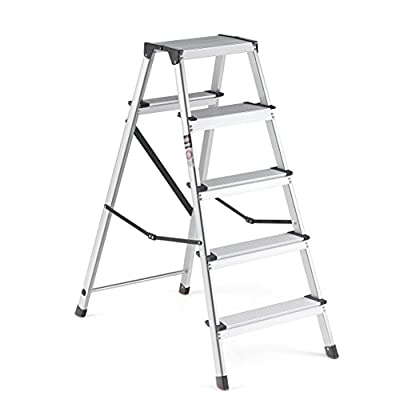 Delxo Lightweight Aluminum Step Ladder Folding Step Stool Stepladders Home and Kitchen Step Ladder Anti-Slip Sturdy and Wide Pedal Ladders 330lbs Capacity Space Saving