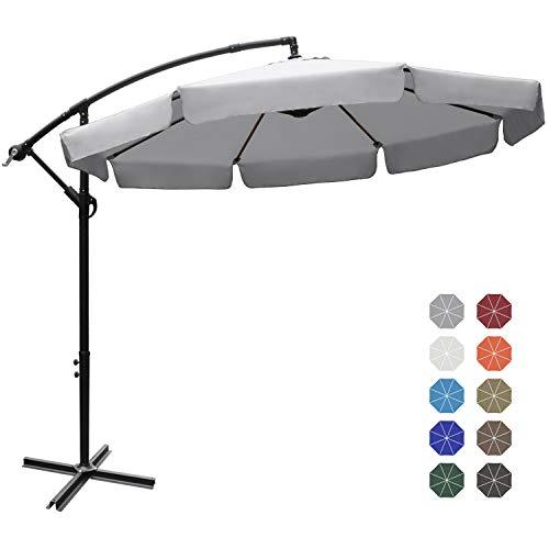 Abccanopy Parasol de jardin en acier 300 cm gris clair