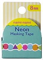 パインブック ナミナミ ネオン マスキングテープ TM00518 幾何学・パターン 8mm × 5m 37mmφ 日本製