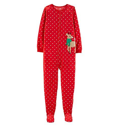 Carter's Girls' Zippered Fleece One-Piece Footie Pajamas (Reindeer/Green Scarf, 4T)