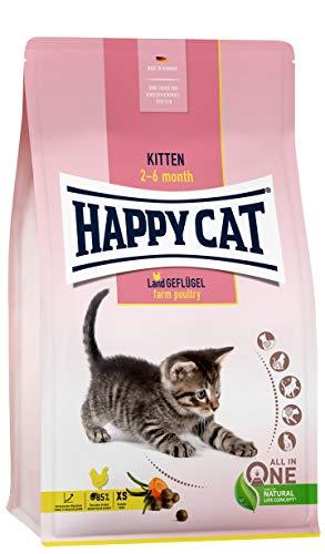 Happy Cat 70535 - Young Kitten Land Geflügel - Katzen-Trockenfutter für Katzen-Babys ab der 5. Lebenswoche - 1,3 kg Inhalt